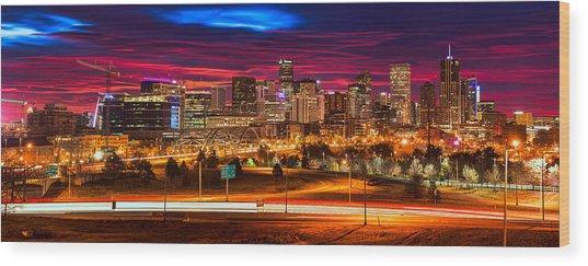 Denver Skyline Sunrise Wood Print
