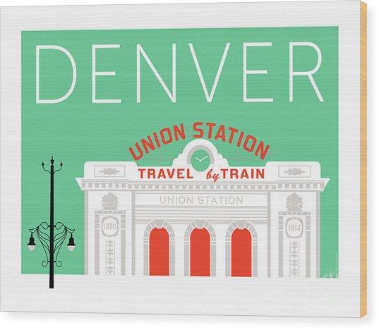 Denver Union Station/aqua Wood Print