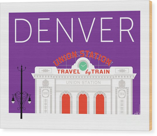 Denver Union Station/purple Wood Print