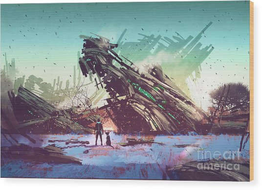 Wood Print featuring the painting Derelict Ship by Tithi Luadthong