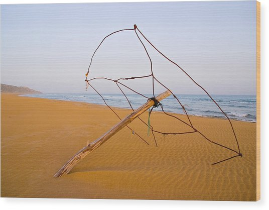 Derelict Umbrella On Deserted Beach Wood Print