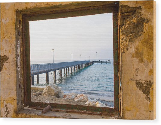 Derelict Window And Pier Wood Print