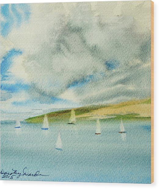 Dark Clouds Threaten Derwent River Sailing Fleet Wood Print