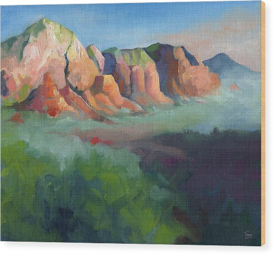 Desert Afternoon Mountains Sky And Trees Wood Print