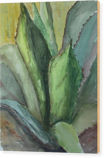 Desert Agave Wood Print by Marilyn Barton