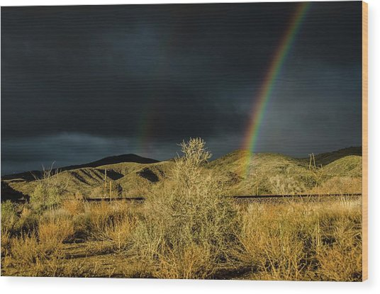 Desert Double Rainbow Wood Print