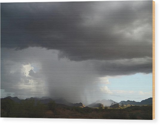 Desert Downpour Wood Print