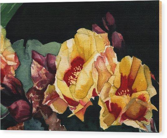 Desert Flowers Wood Print by Patricia Halstead