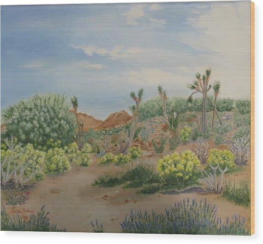 Desert In Bloom Wood Print by Joan Taylor-Sullivant
