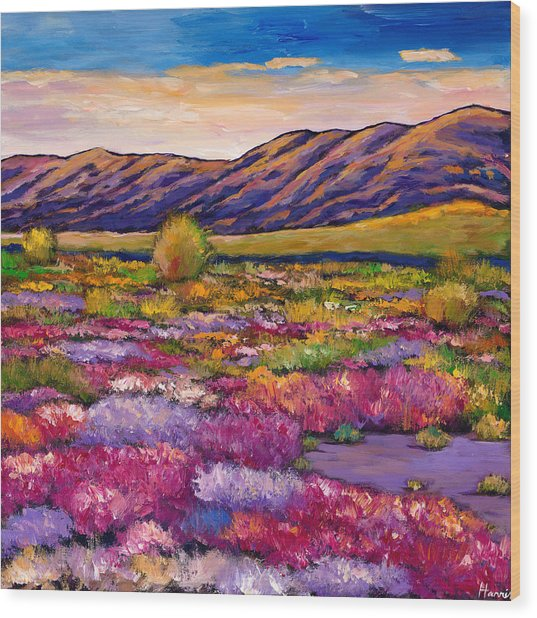 Desert In Bloom Wood Print