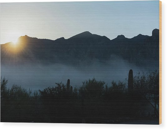 Desert Inversion Sunrise Wood Print