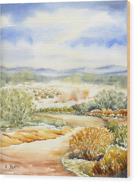 Desert Landscape Watercolor Wood Print