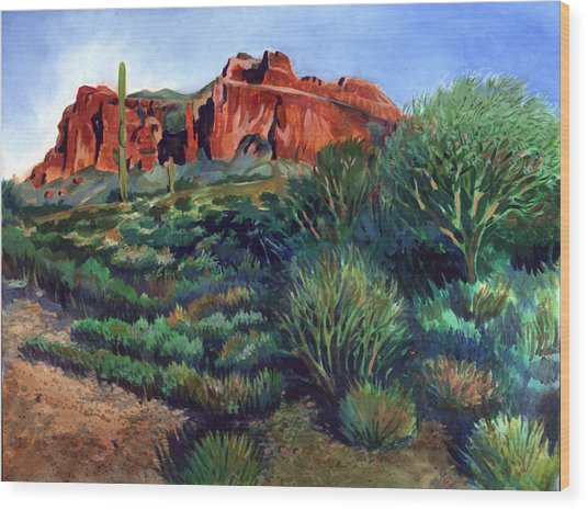 Desert Mountain Tapestry Wood Print by Kent Looft