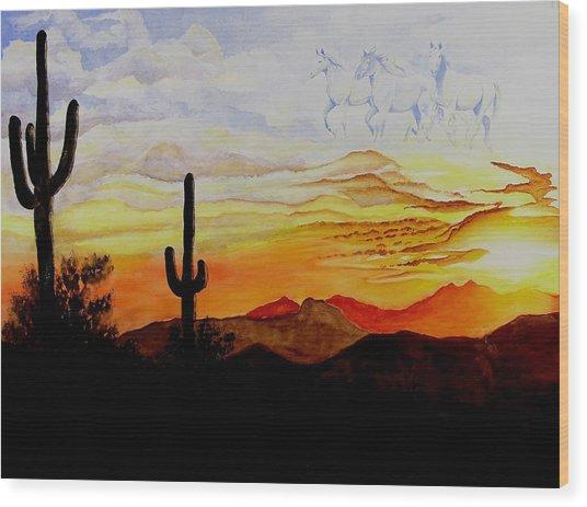 Desert Mustangs Wood Print