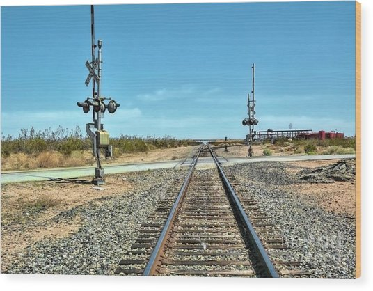 Desert Railway Crossing Wood Print