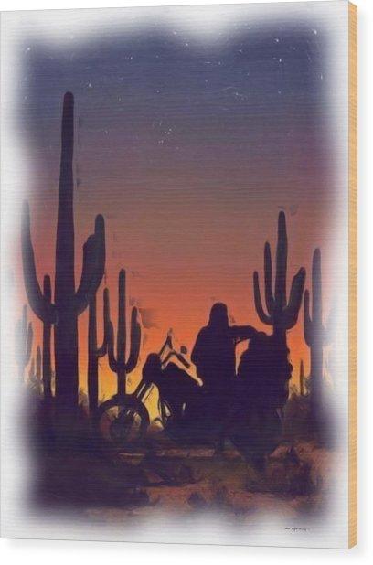 Desert Ride At Sunset Wood Print