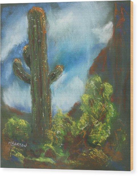 Desert Sentinel Wood Print by Marilyn Barton