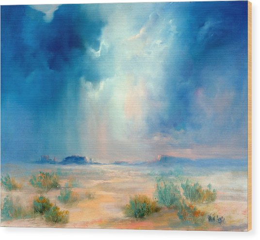 Desert Storm Wood Print by Sally Seago