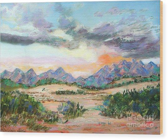 Desert Sunrise Wood Print by Lucinda  Hansen