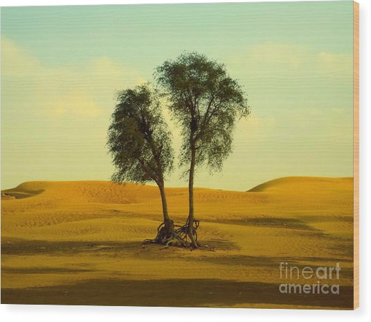 Desert Trees Wood Print