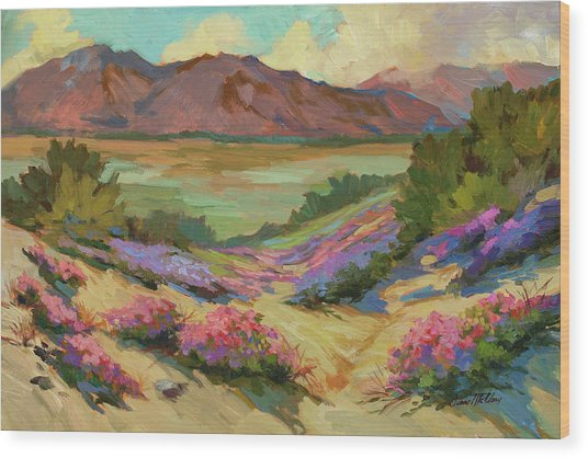 Desert Verbena At Borrego Springs Wood Print