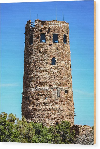 Desert View Watchtower At The Grand Canyon Wood Print