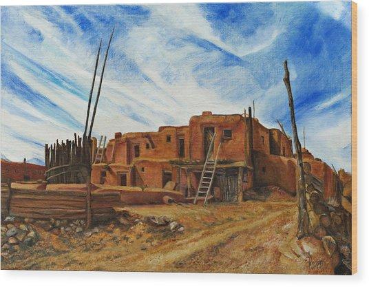 Desert Village New Mexico Wood Print