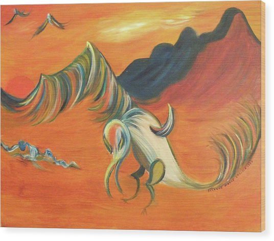 Desert Vulture Wood Print