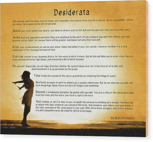 Wood Print featuring the mixed media Desiderata - Child Of The Universe by Mark Tisdale