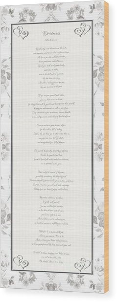Desiderata In Silver Script By Max Ehrmann Wood Print