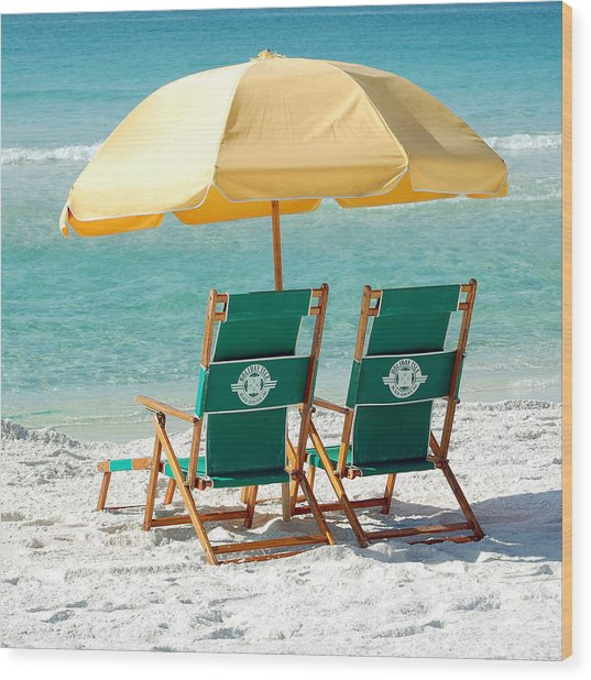 Destin Florida Beach Chairs And Yellow Umbrella Square Format Wood Print