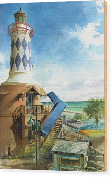 Wood Print featuring the painting Destin Lighthouse by Andrew King