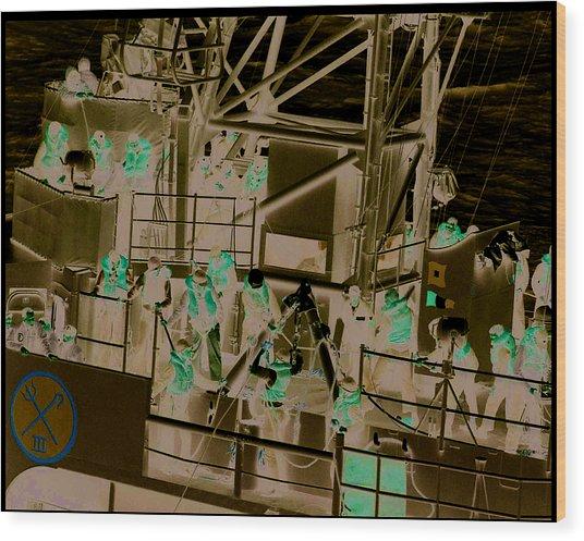 Destroyer Alongside Carrier Wood Print