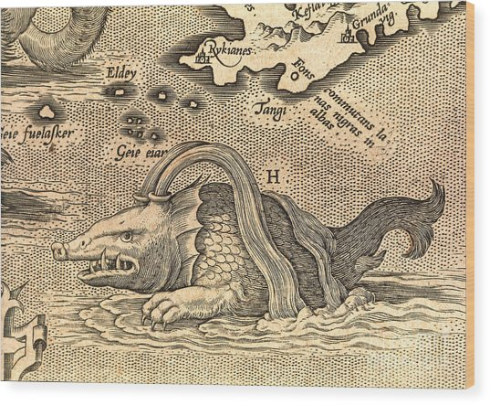 Detail Of Geographical Map Depicting Monstrous Sea Creature Wood Print