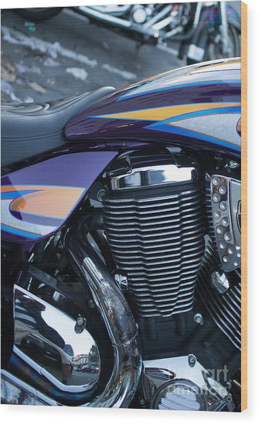 Detail Of Shiny Chrome Cylinder And Engine On Cruiser Motorcycle Wood Print