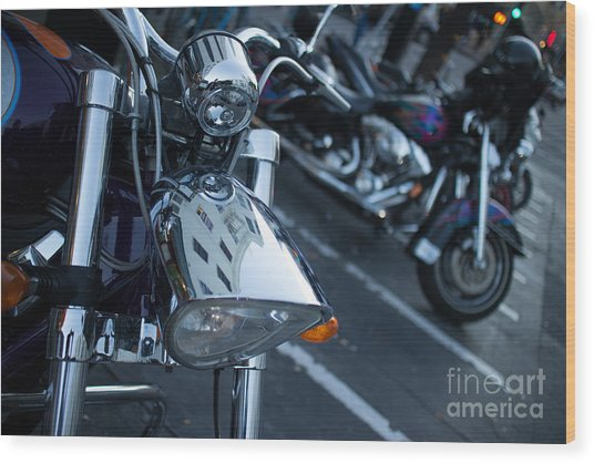 Detail Of Shiny Chrome Headlight On Cruiser Style Motorcycle Wood Print