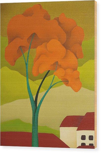 Detailed  Landscape 2009 Wood Print by S A C H A -  Circulism Technique