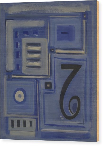 Details In Blue Wood Print by Sandy Bostelman