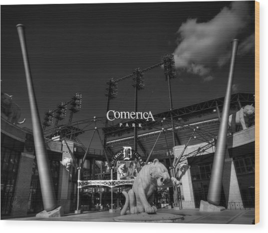 Wood Print featuring the photograph Detroit - Comerica Park 001 Bw by Lance Vaughn
