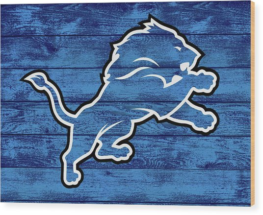 Detroit Lions Barn Door Wood Print