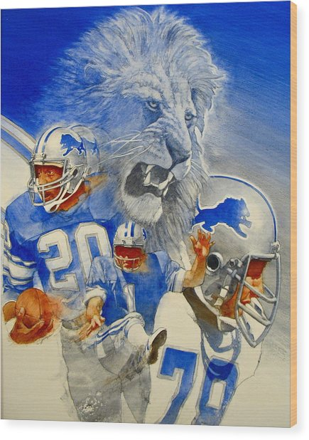 Detroit Lions Game Day Cover Wood Print