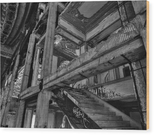Detroit - Michigan Theatre 002 Bw Wood Print by Lance Vaughn