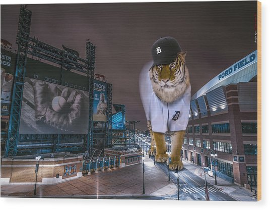 Detroit Tigers At  Comerica Park Wood Print