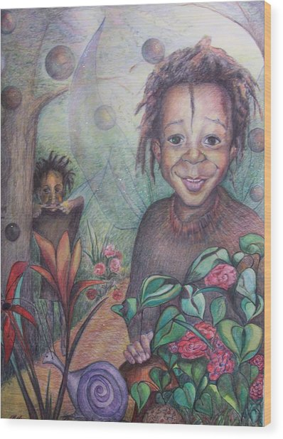 Deven's World Wood Print by Joyce McEwen Crawford