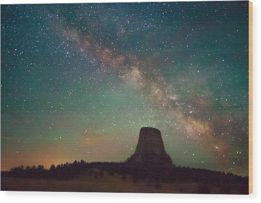 Devils Tower Lights Wood Print