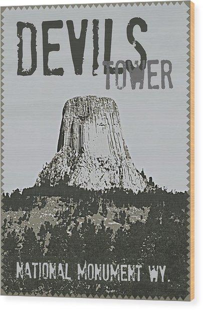 Devils Tower Stamp Wood Print