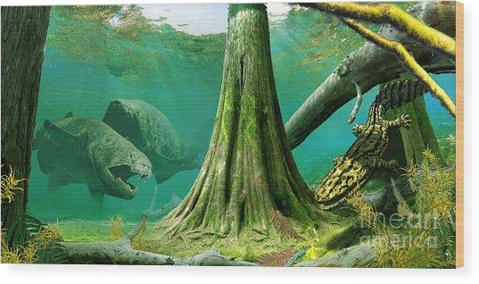 Devonian Mural Wood Print by Julius Csotonyi