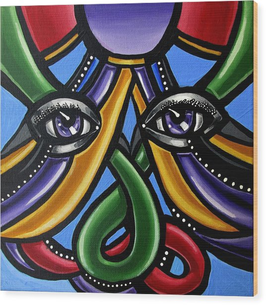 Colorful Eye Art Paintings Abstract Eye Painting Chromatic Artwork Wood Print