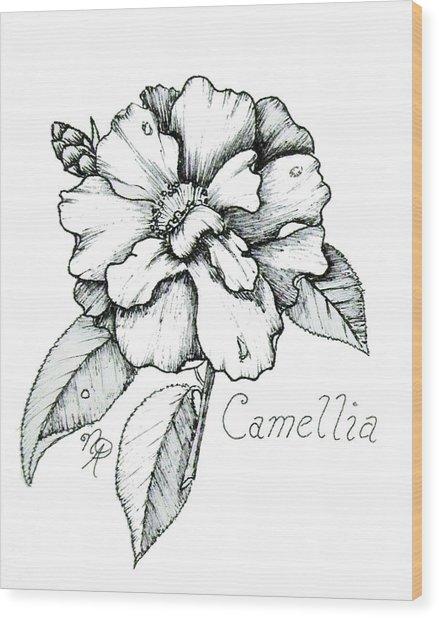 Dew Kissed Camellia Wood Print