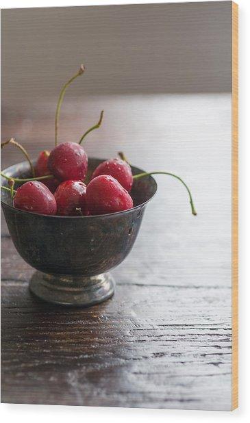 Dewy Cherries Wood Print